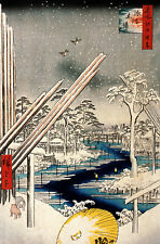 JAPANESE LANDSCAPE ART HIROSHIGE FUKAGAWA KIBA A3 CANVAS PRINT POSTER