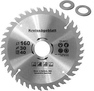 Kreissägeblatt für Holz Ø160-190-210-250mm 40 HM Zähne+2 Reduzierringe 16 / 20mm