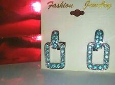 NEW Retro Blue Sim Topaz Silver Dangle Square Hoop Earrings Bling FREE GIFT BAG