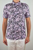 New Mens Ted Baker Leaf Print Shirt Pink Short Sleeve Linen Size 4 Large AW