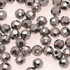 Perles en verre boule à facettes Ø5mm couleur argent (x 5)
