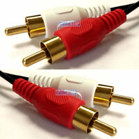 5m Twin RED WHITE 2 x RCA PHONO Audio LEFT RIGHT Cable Male to Male Lead GOLD