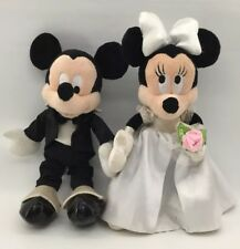Mickey And Minnie Mouse Bride And Groom Stuffed Plush Musical Disney 10""
