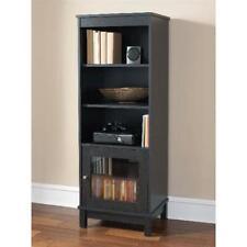Media Storage Bookcase Black Finish Display Cabinet 3 Adjustable Shelves Indoor