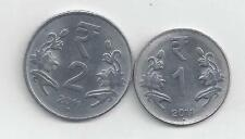 2 NICE COINS from INDIA - 1 & 2 RUPEE (BOTH DATING 2011N)