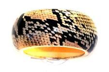 Wood Natural Looking Snakeskin Pattern Bracelet Clunky Bangle Acrylic &