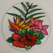 Painted Glass Sun Catcher Tropical Flowers Qty 6 Window Hang 2 Holes Cl30