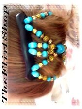 SOUTHWESTERN TURQUOISE BUTTERFLY EZ COMB BOHO BEACH GYPSY  TAME YOUR HAIR !