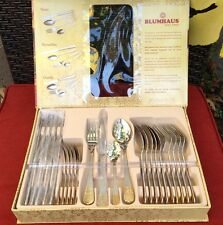 BEAUTIFUL SET from Blumhaus 1969 Satin&Gold Stainless Dinner, Cutlery Set For 6