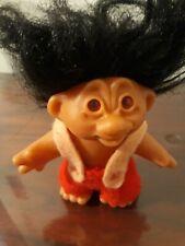 "Vintage Dam Norfin Troll Doll 6.5"" Black Hair Felt Clothes"