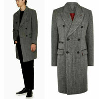 Men's Gray Herringbone Long Overcoat Wool Blazer Double breasted Peak Lapel