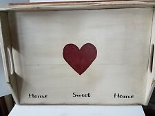 Primitive Stove Cover Noodle Board Hand Crafted Cream w/Heart Home Sweet Home