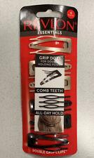 REVLON essentials Hair Clip BLACK & SILVER Double holding Power Comb teeth 6 pcs