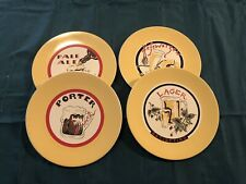 "Set of 4 Pottery Barn Beer Themed Salad Plates 8.25"" Lager, Porter, Pale Ale,"