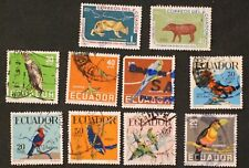 Ecuador 10 Stamps - 1958 Birds Sc#634-637 , 645-648 & 2 others