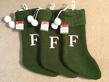 """NWT Initial Letter """"F"""" Monogrammed Sweater Knitted 18"""" Green Christmas Stocking"""