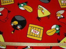 Fleece Fabric LICENSED Angry Birds TNT on Red BTY