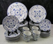 (40) Pc. Royal Copenhagen Blue Fluted Half Lace Porcelain Dinner Service for 8