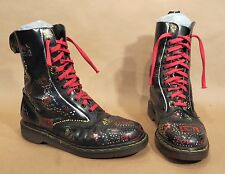 Doc Marten's 10-Eyelet Boots • Black • England • Custom Painted • AirWair Soles