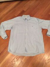 LACOSTE Long Sleeve Shirt MEN'S 42 Large Small Check Plaid White/Blue EUC