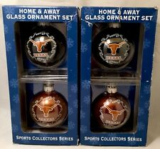 UT TEXAS LONGHORNS - 2 sets of Christmas home and away glass ornament sets - NIP