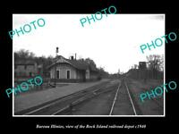 OLD LARGE HISTORIC PHOTO OF BUREAU ILLINOIS, THE RAILROAD DEPOT STATION c1940 1