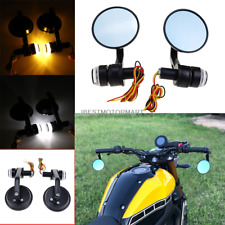 Turn Signals Bar End Motorcycle Mirrors Aluminum Black - Right & Left Cafe Racer