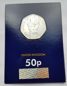 2018 Royal Mint The Tailor of Gloucester 50p Coin BU Change Checker Card
