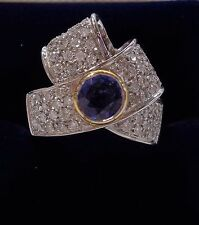 Large Sapphire & Diamond 1.15ct Cocktail  Ring In 18ct White Gold - Size O - 10g
