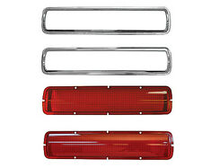 1968 69 70 Ford Mustang Shelby Tail Lamp Light Lenses & Bezels (4pcs) - 3643MD