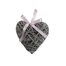 20Cm Grey Wooden Wicker Hanging Heart Shabby Chic Home With Pink Spot Ribbon