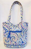 Vintage Vera Bradley Capri Blue Medium Tote Snap Magnetic Closure Shoulder Bag