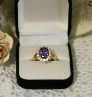 Vintage Jewellery Gold Ring Amethyst and White Sapphires Antique Jewelry Size 9