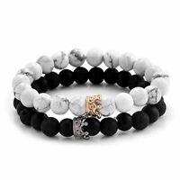 78bd3259a9068 Luxury Men CZ Crown King Charm Bracelets White Howlite Stone ...