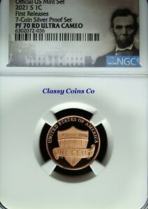 2021 S NGC UCAM Proof 70 Lincoln One Cent ☆☆ Silver Proof Set ☆☆ First Release