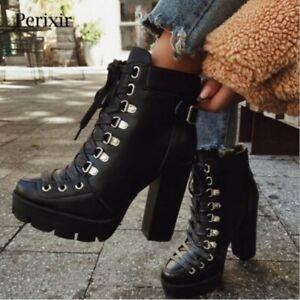 Ladies Block High Heel Lace Up Round Toe Platform Combat Motor Punk Ankle Boots