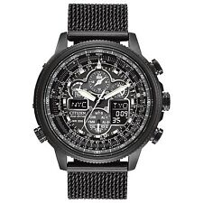 Mens Citizen Eco-Drive Navihawk Atomic Black Stainless Mesh Watch JY8037-50E