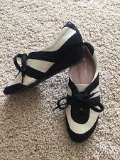 3ce3f8bfed0c Taryn Rose Women s Black Bone Parisa Metallic Lace-up Sneaker 7M slight  wedge