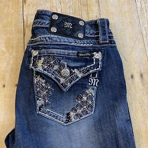 Miss Me Cuffed Capri Crop Women's Thick Stitch Jeans Rhinestone Size 30 (32X23)