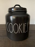 New HTF Rare Rae Dunn Black COOKIE Canister Large Letter LL By Magenta