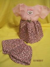 """Handmade pink cheeta print dress and shorts outfit fits 11-12"""" baby dolls"""