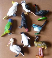 AUSTRALIAN BIRDS COLLECTION of 9 Small REPLICAS Kooka Swan Emu Penguin Lorikeet