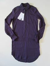 NWT Lacoste Chablis Purple Roll Sleeve Brushed Twill Shirt Dress 0 32 $215