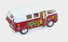 """5.25"""" 1962 MAROON VW Peace & Love Diecast Metal Bus with Pullback Motor Action"""