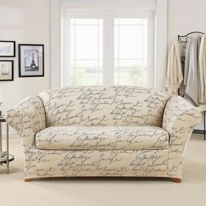 NEW Stretch Pen Pal By Waverly Box Cushion loveseat Slipcover script tan black