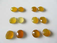 3 Match Pairs Yellow Chalcedony Cabochon Rose Cut Flat Back Faceted Gemston RCC9