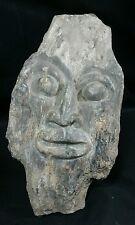 "Petrified Wood Carving - Island of Sumatra.  Indonesian warrior face 8.25"" long"