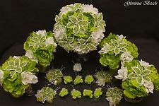 Bridal Bouquet Wedding Flower LIME GREEN WHITE 18 PC Package Peony BEADED LILY