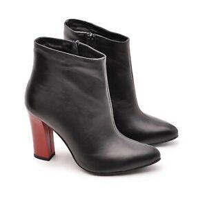 Ladies Women NATU Black Boots Zipped Slim Heel Genuine Leather Made In Poland