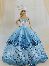 Fashion Royalty Party Dress/Wedding Clothes/Gown+hat For Barbie Doll F89